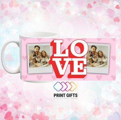 чаша със снимка и надпис Love